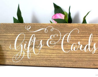 Gifts and Cards Wood Wedding Signs | Cards and Gifts Wooden Wedding Sign | Gifts Rustic Wedding Sign | Wood Card Sign | Gifts Signage  WS-74