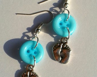 Earrings blue buttons and small feet