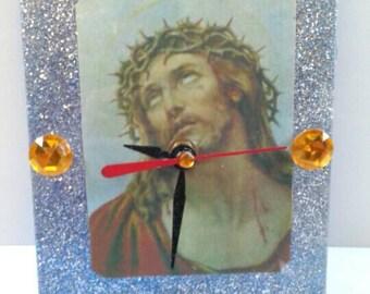 Acrylic Glitter Jesus Clock, Handmade, Clock, Religious Clock, Functional Art,  Made By Mod.
