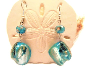 Ocean Blue Mother-of-Pearl Shell Earrings with Marble Picasso Rondelles