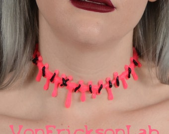 Dripping Blood and Stitch Necklace Choker  -Creepy Cute Extreme HOT Pink Pastel goth Kawaii