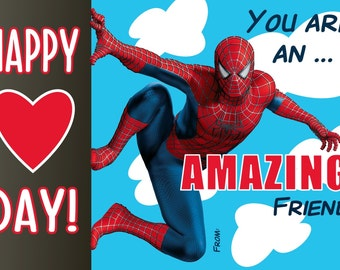 Spiderman Valentine Digital File Print at Home -Will Customize with Child's Name