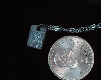 Damascus Rectangle Pendant
