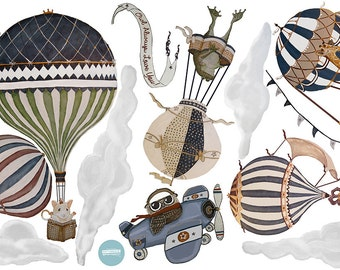 Med. Vintage set of 6, Hot Air Balloon Animals nursery,w- Owl. Boy, toddler, baby, kids, hand painted look, Repositionable fabric Wall decal