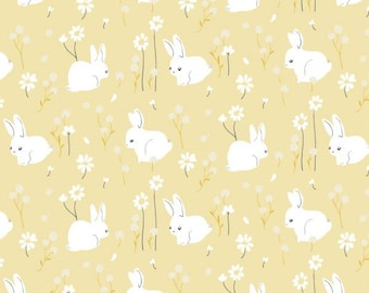 KNIT Fabric: Birch White Bunny Organic Knit. Sold by the 1/2 yard.