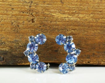 Vintage Ice Blue Rhinestone Earrings / Clip On