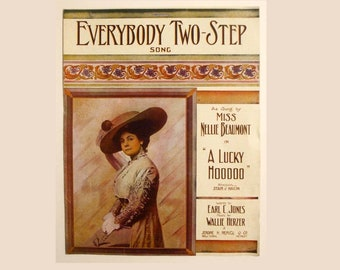"Antique/ Vintage 1912 Large Format Sheet Music ""Everybody Two-Step"" From The Theatre Production ""A Lucky HooDoo"""