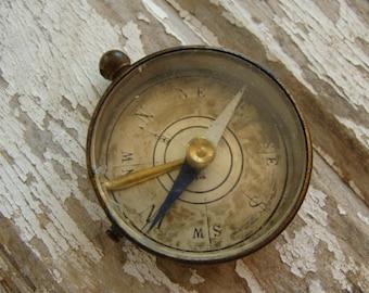 Old Vintage Worn Steampunk Metal Compass