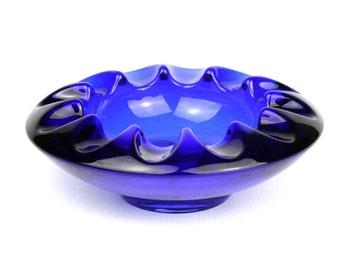 Retro Vintage Sklo Union Blue Glass Bowl by Adolf Matura