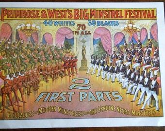 Vintage Advertising Primsrose & West Big Mintsrel Festival or Estey Organ Co Poster Size Book Plate