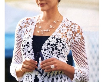 Crochet jacket PATTERN, written tutorial in ENGLISH for every row + charts, beach wedding crochet jacket pattern PDF, crochet top pattern.