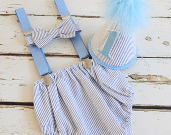 baby boy cake smash outfit boy first birthday outfit gray - blue 1st birthday hat diaper cover bow tie