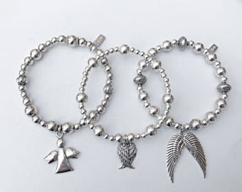 Beautiful Chunky Sterling Silver ANGEL Bracelet