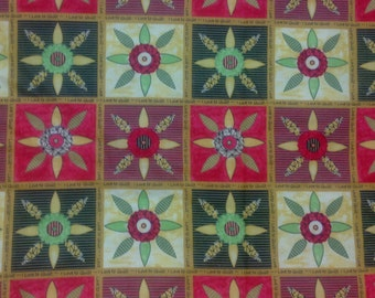 "Patchwork Quilting Fabric by Northcott - Sentimental Patchwork  ""I Love to Quilt"" Fabric Yardage in Green, Gold and Red"