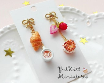 Sweets and Cappuccino Earrings/ French Cafe/ Berry Croissant Earrings/ Berry Tart Earrings/ Berry Earrings/ Fake Food Earrings/Berry Jewelry