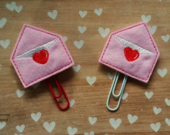 Love letter paper clip / planner clip, planner accessories, Valentines Day, love letter, heart envelope, felt  envelope,  Valentine planner