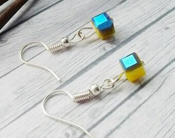 Cube Earrings, Blue Cube Earrings, Crystal Earrings, Yellow Earrings, Metallic Blue Earrings, Cube Bead Earrings, Blue Beaded Earrings,