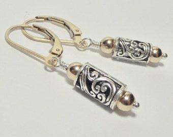 Sterling Silver and 14k Gold Floral Earrings