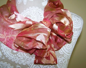 Hand Dyed Silk Devore Satin silk scarf in pink and light yellow/gold