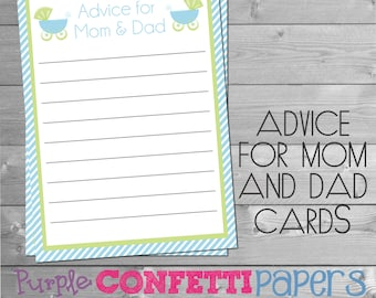 Carriage Advice for Mom & Dad Card, Advice for Mom and Dad Cards, Baby Shower, Blue Carriage, Boy, Blue, Green, Printable, INSTANT DOWNLOAD