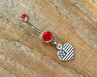 United States Flag Belly Button Ring, Heart Flag Navel Ring, Belly Button Jewelry, Navel Piercing, Body Jewelry, 14g Curved Barbell.