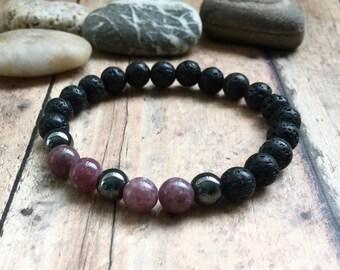 Men's Lepidolite Bracelet | Lithium Bracelet | Mens Anxiety Awareness Bracelet | Lava Rock Grounding Bracelet | Male Lithium Jewelry