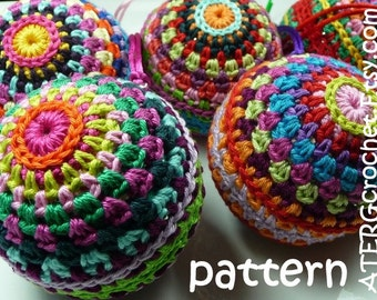 Crochet pattern Christmasball in 4 sizes by ATERGcrochet