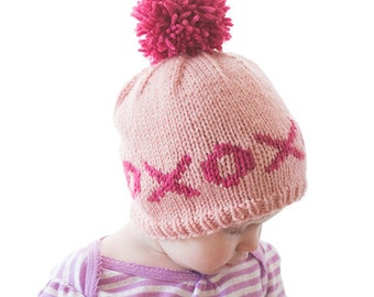 Hugs and Kisses xo Valentine's Day Hat KNITTING PATTERN / xoxoxo / Valentine Outfits/Valentines Day Baby/First Valentines/fair isle knit hat