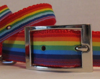 Pride Ribbon Collars for Pets - Cats and Dogs - LGBT - Gay Pride Collar - Rainbow Collars - Matching Leash - Key Fob