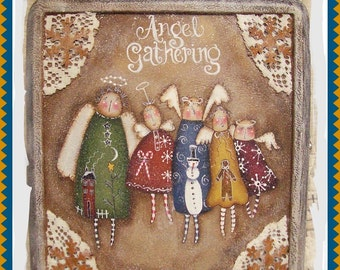 Angel Gathering Suitcase  - Painted by Martha Smalley, Painting With Friends E Pattern