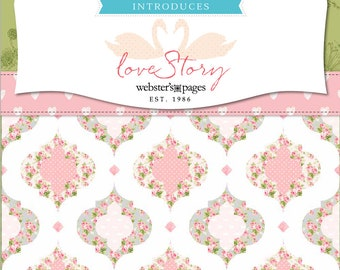 Riley Blake Love Story   Webster's Pages   Quilt Fabric   Yardage   Main Floral Gray   Main Floral Pink   Teal Stripes   By the Yard