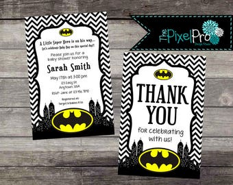 Elegant Batman Baby Shower Invitation, Boy Baby Shower Batman Announcement, Girl Batman  Baby Shower,