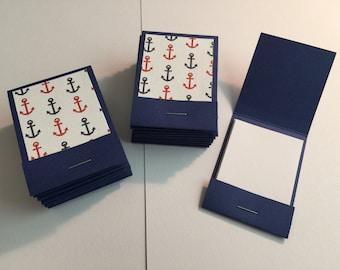 20 Matchbook Notepads Matchbook Favors - Anchor/Nautical, Handmade