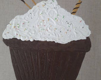 Gourmet chocolate cream cupcake embossed