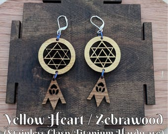 Navayoni Yantra with Lotus Earrings Laser Cut - Sri Chakra - Nine Wombs Yantra
