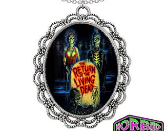 The Return Of The Living Dead Poster Large Cameo Pendant Silver Chain Horror Necklace *Multi Colour Options*