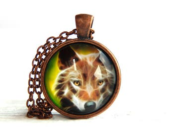Fox necklace, fox jewelry, animal necklace, charm necklace , fox charm, fox pendant, neon Animals, neon fox, nature necklace, animal jewelry