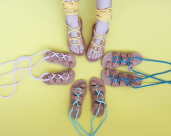 Child Gladiator Greek Summer Rope Leather Sandals - Children sandals with Rope Fabric Wrap Up Laces