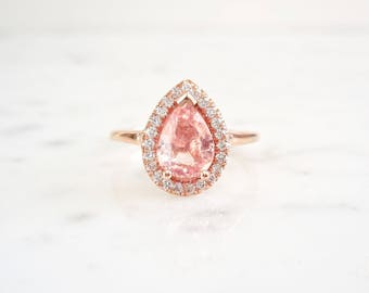 Peach Sapphire Ring, Unheated Sapphire, Natural Peach Certified, Pear Shaped Sapphire Ring, Diamond Halo Ring, Sapphire Ring, September