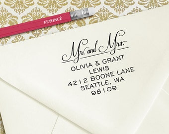 Mr. and Mrs. Address Stamp, Grant Wedding Stamp