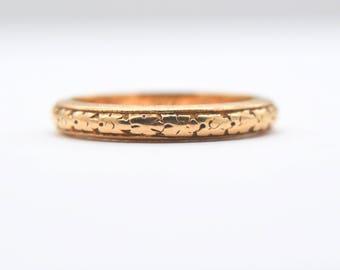 EDWARDIAN DECO WEDDING Art Deco antique vintage band ring 14k gold floral etched design size 6 dated circa 1917