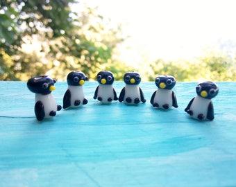 Penguin Lampwork Beads, Glazed Penguin Beads, Winter Beads, Miniature Penguins, Christmas Beads, Lampwork Animal Beads, Penguin Lover Gift