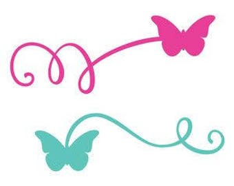 DIY Curly Lines With Butterflies On The Ends Vinyl Decal, Laptop Decal, Tablet, Car Window Decal, Cell Phone Decal, Frame it Decal, Canvas