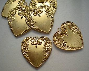 6 large brass heart charms