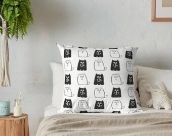 cat pillow , decorative pillow , throw pillow , cat pillow cover , black and white , pillow cover , cat throw pillow , animal pillow