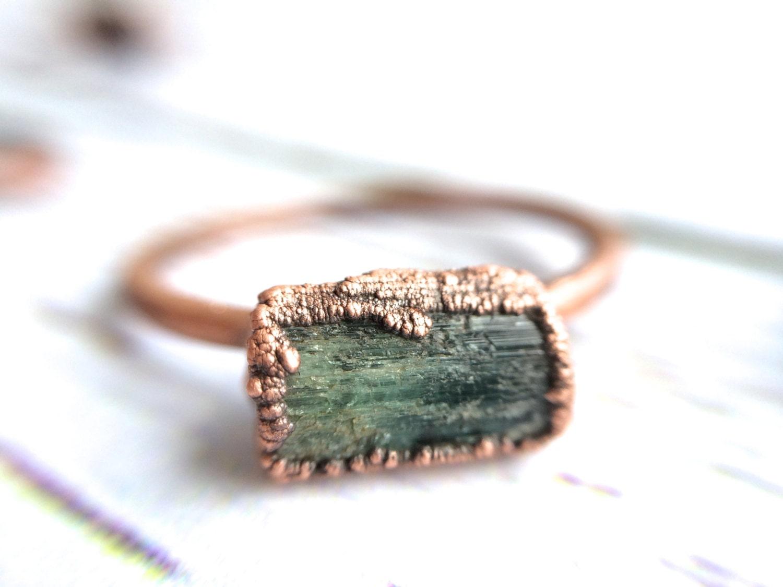 Raw tourmaline ring Green tourmaline crystal ring