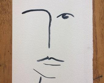 minimalist face - grey/blue watercolour