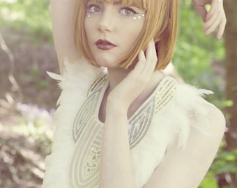 Ivory feather beaded collar, feathered bib, statement neckpiece