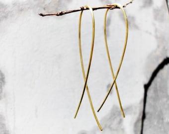 Dainty Gold Fish Earrings / Hoop / Christian Earrings / Sleek Fish Earrings / Long Earrings / Gold / Rose Gold / Copper / Friendship Gift //
