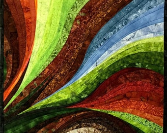 Art Quilt Curves of the Earth, Wall Quilt, Wall Hanging